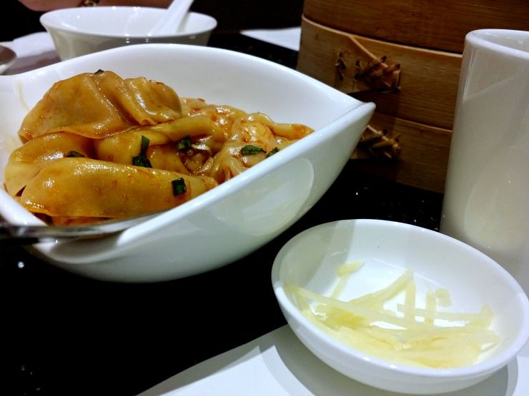 din tai fung spicy vegetable and pork wonton