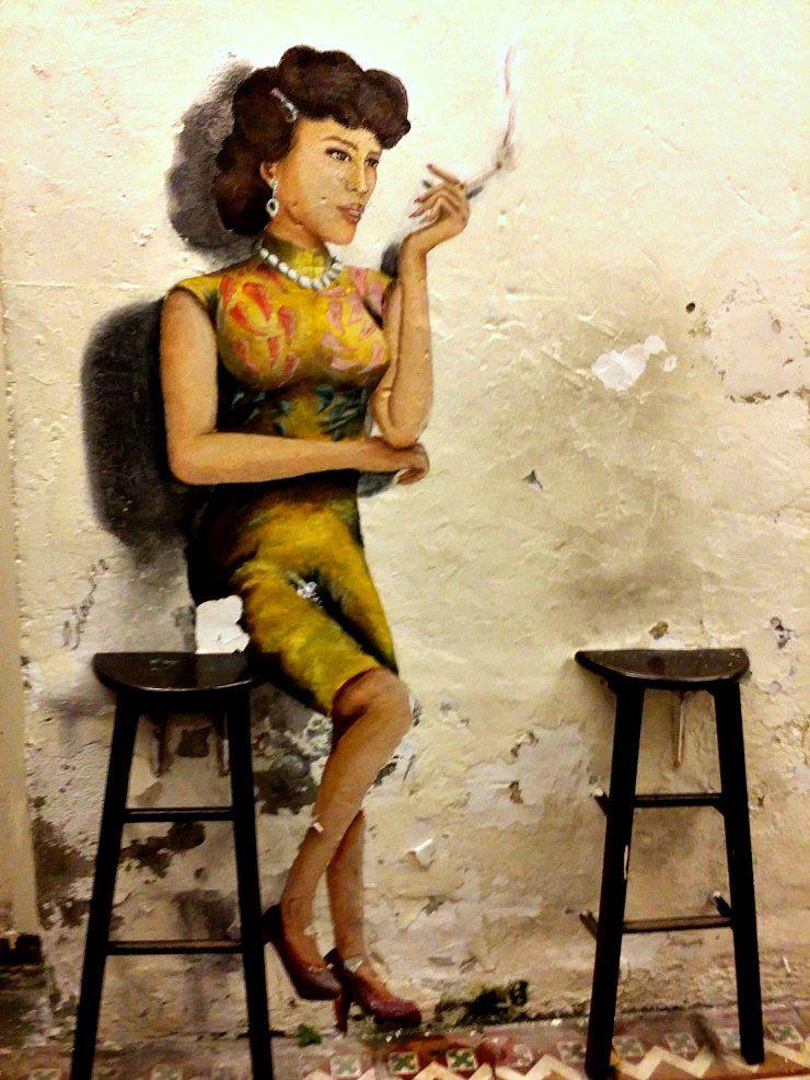Retro smoking lady near Nagore street