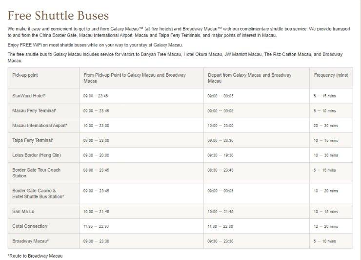 Galaxy Macau free shuttle schedule