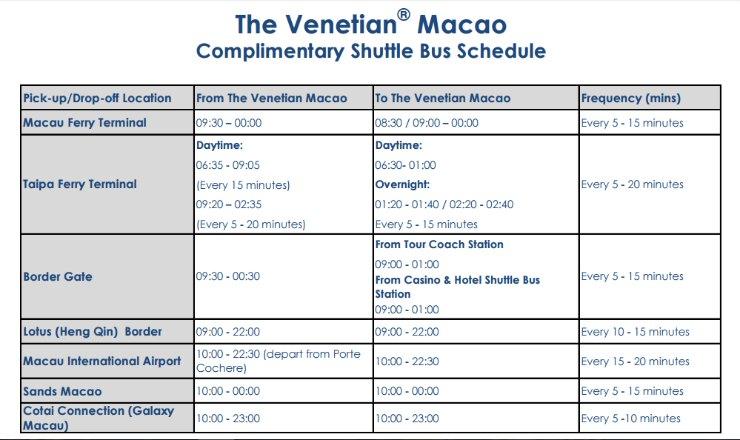 Venetian Macau free shuttle bus