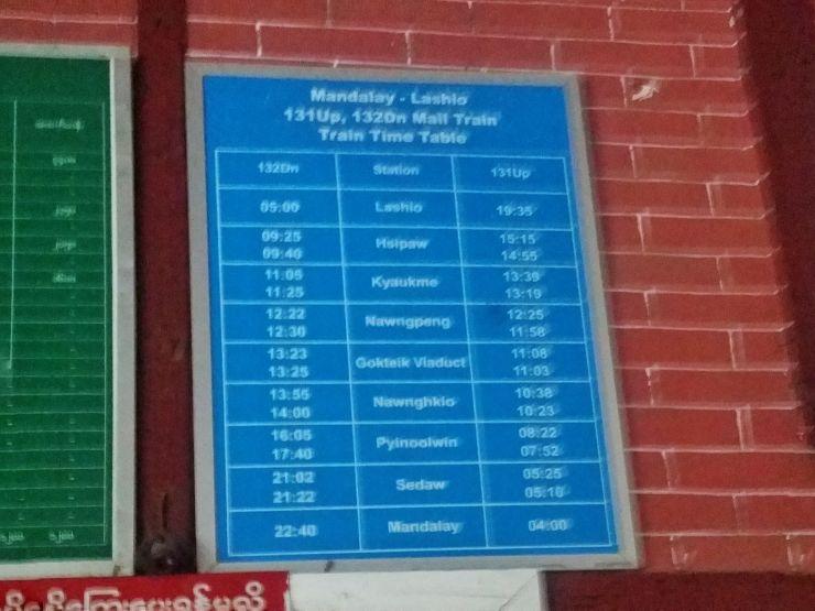 mandalay to lashio train schedule