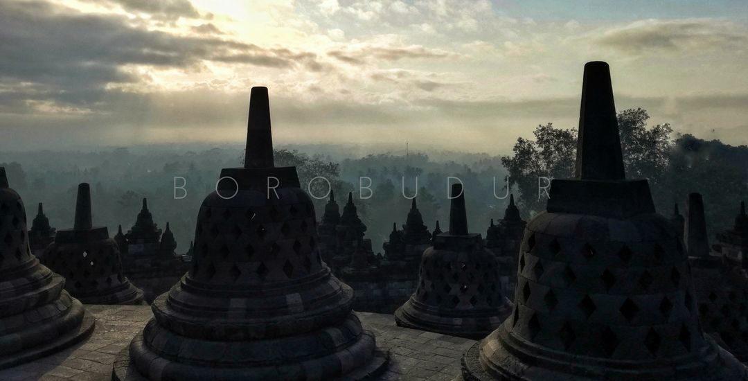 borobudur stupas in the morning light