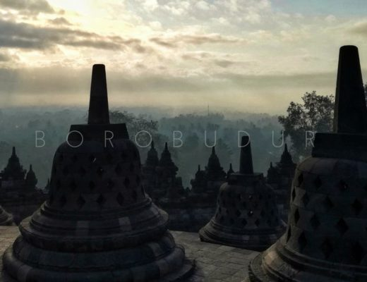 borobudur stupas in the morning light