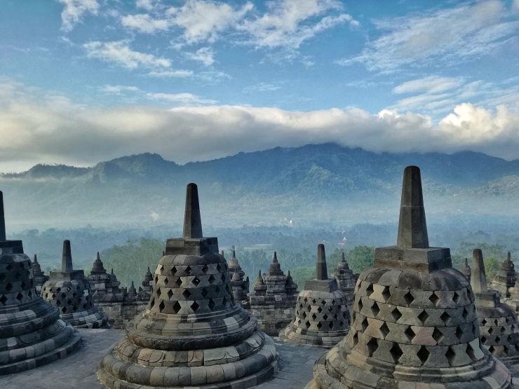 stupas borobudur sunrise