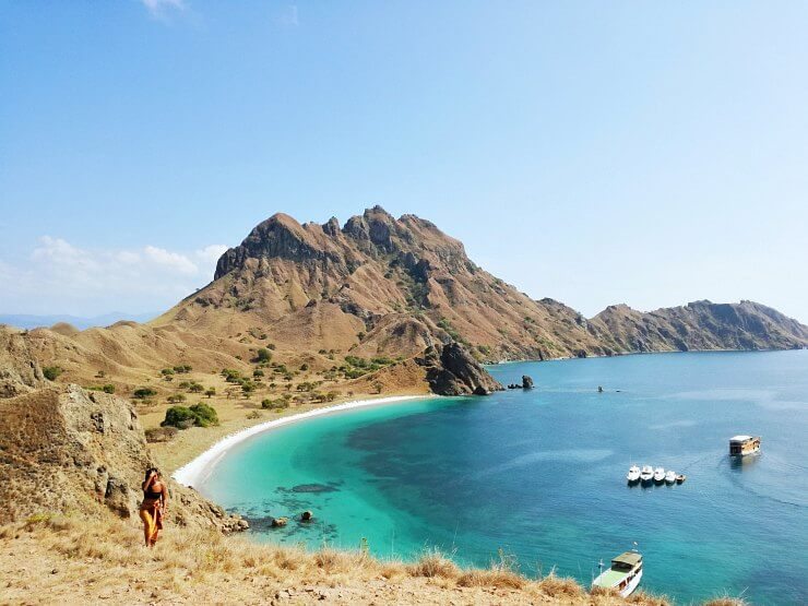 view from padar island coral beach