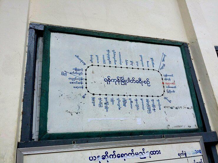 route map yangon circle line train