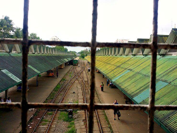 yangon circular train tracks from above