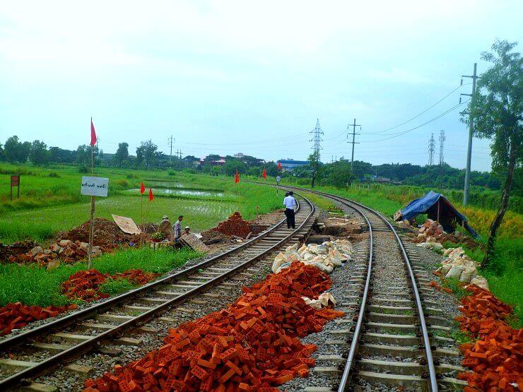 yangon circular train tracks under construction