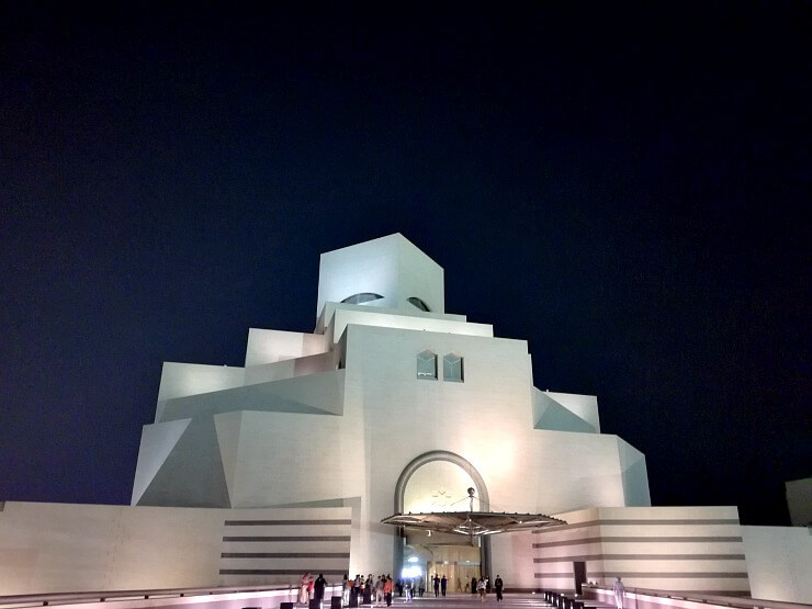 museum of islamic art qatar at night
