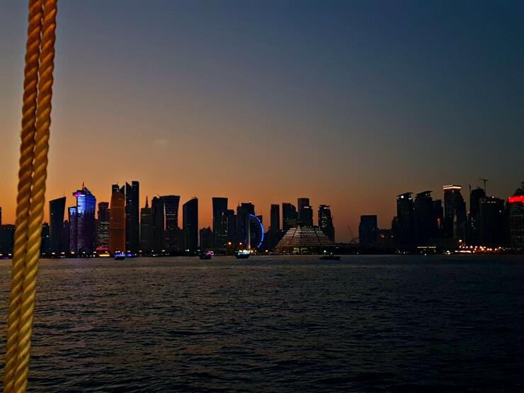 doha corniche skyline from dinner cruise