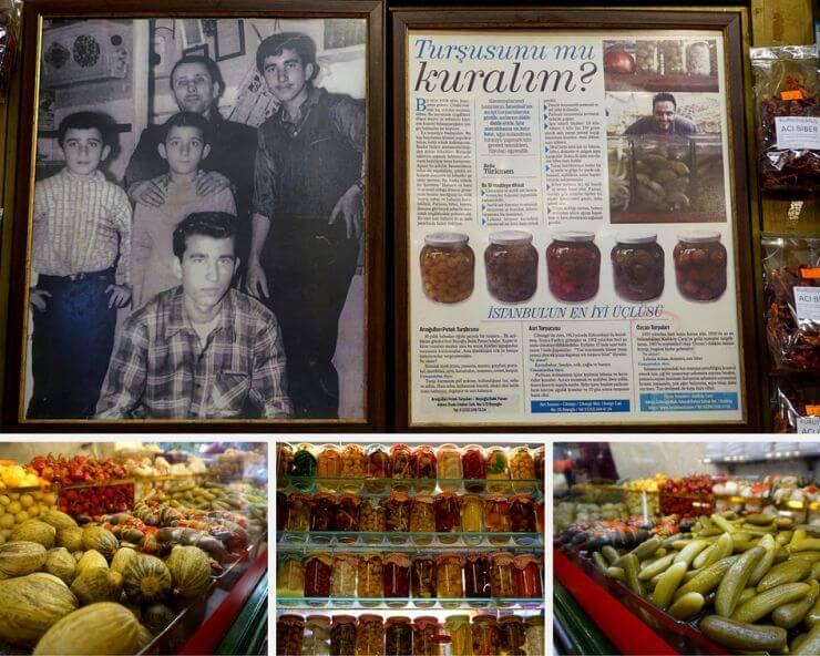 assortment of pickles at Orcan Tursulari at Kadikoy fishmarket