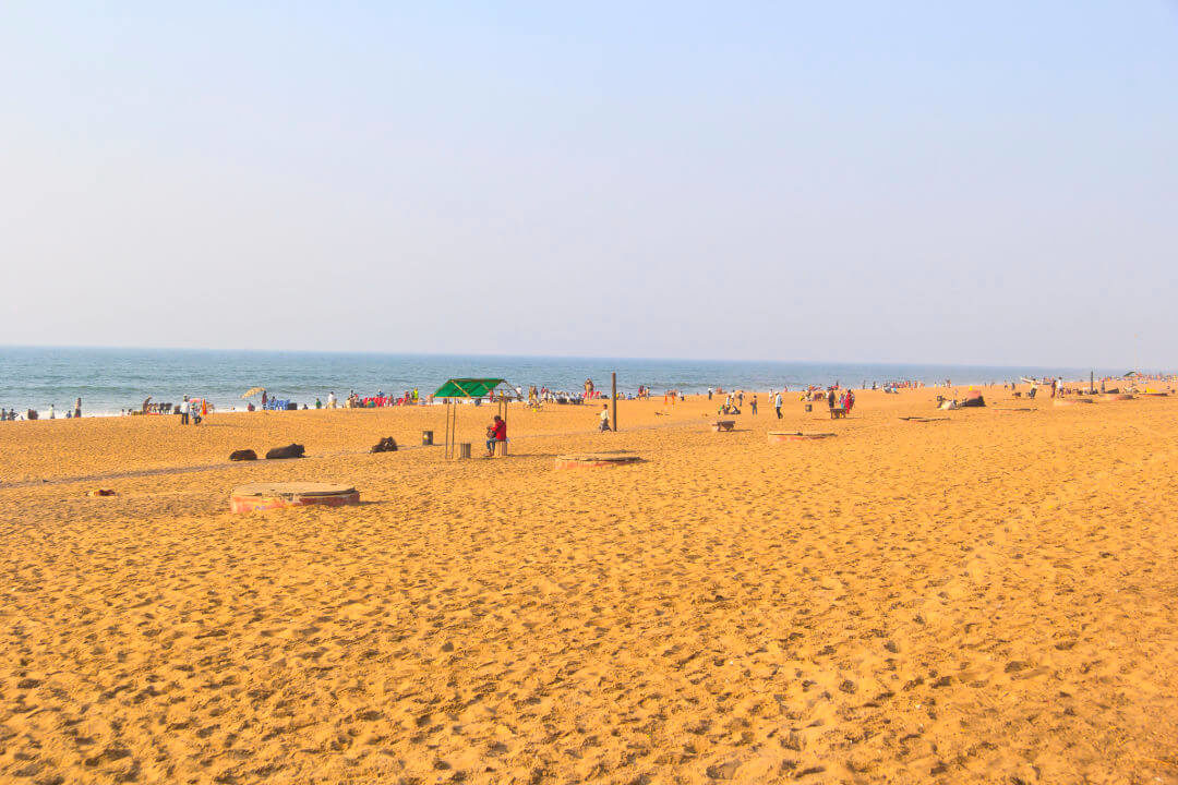 view of golden sand of puri beach in India